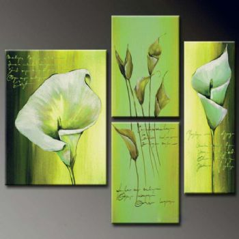 Callas Waiting For A Poet-Modern Canvas Art Wall Decor-Floral Oil Painting Wall Art with Stretched Frame Ready to Hang