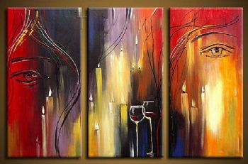 Candlelight Dinner- Canvas Abstract Oil Painting Wall Art Stretched Frame Ready to Hang