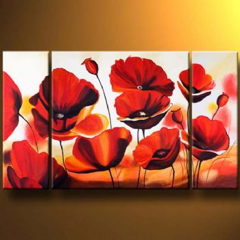 Carmine Poppies-Modern Canvas Art Wall Decor-Floral Oil Painting Wall Art with Stretched Frame Ready to Hang
