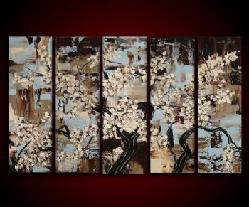 Cherry Blossoms Bloom I-Modern Canvas Art Wall Decor-Floral Oil Painting Wall Art with Stretched Frame Ready to Hang