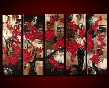 Cherry Blossoms Bloom-Modern Canvas Art Wall Decor-Floral Oil Painting Wall Art with Stretched Frame Ready to Hang