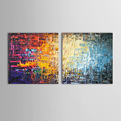 Color Bricks Modern Abstract Oil Painting Wall Art with Stretched Frame Ready to Hang