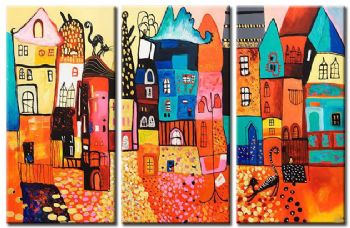 Colorful Houses-Modern Abstract Oil Painting Wall Art with Stretched Frame Ready to Hang