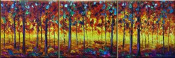 Colorful Season II-Modern Canvas Art Wall Decor-Landscape Oil Painting Wall Art with Stretched over Wood Frame Ready to Hang