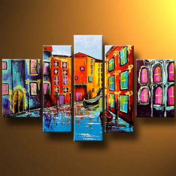 Colorful Venice-Modern Canvas Art Wall Decor-Landscape Oil Painting Wall Art with Stretched Frame Ready to Hang