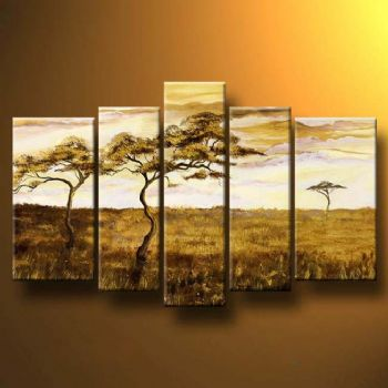 Colors Of Savannah-Modern Canvas Art Wall Decor-Landscape Oil Painting Wall Art with Stretched Frame Ready to Hang