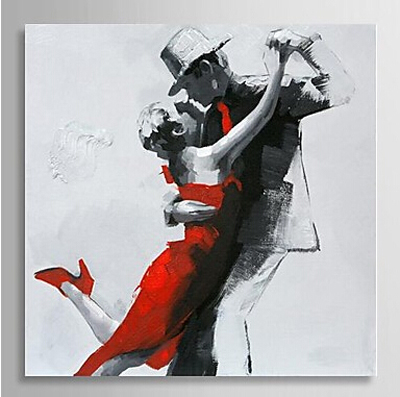 Couple Dancing-Dancer Oil Painting Wall Art-Modern Canvas Art Wall Decor with Stretched Frame Ready to Hang