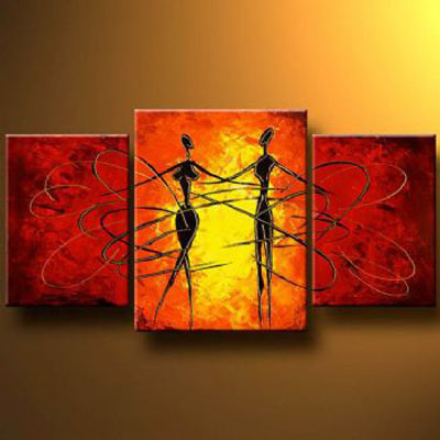 Dance Of Love Modern Canvas Abstract Oil Painting Wall Art With Stretched  Frame Ready To