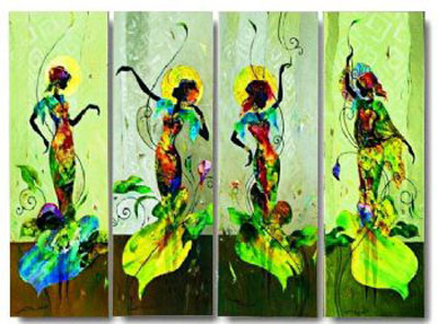 Dance On Little Girl-Modern Canvas Art Wall Decor-Abstract Oil Painting Wall Art with Stretched Frame Ready to Hang
