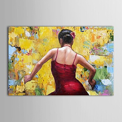 Dancing Girl in Red Spanish Girl-Dancer Oil Painting Wall Art-Modern Canvas Art Wall Decor with Stretched Frame Ready to Hang