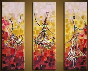Dancing Girl-Modern Canvas Art Wall Decor-Abstract Oil Painting Wall Art with Stretched Frame Ready to Hang