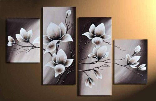 Elegant Blooming Flowers -Floral Oil Painting Wall Art-Modern Canvas Art Wall Decor with Stretched Frame Ready to Hang