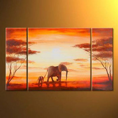 Elephants In Africa-Modern Canvas Art Wall Decor-Landscape Oil Painting Wall Art