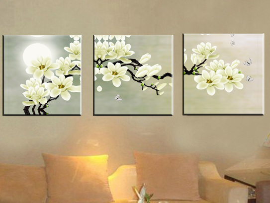 Moonshine White Flowers Oil Paintings Canvas Print with Stretched Frame Ready to Hang