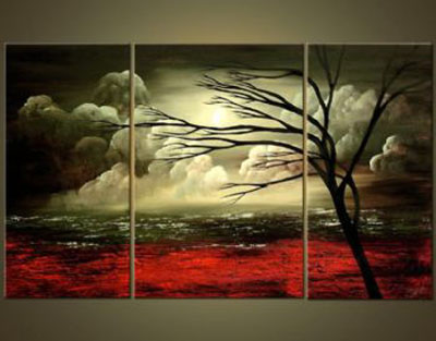Flaming Shades Of Fall-Modern Landscape Canvas Oil Painting Wall Art with Stretched Frame