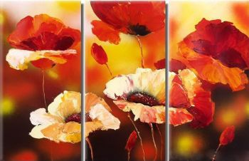 Flirtatious Poppies-Modern Canvas Art Wall Decor-Floral Oil Painting Wall Art with Stretched Frame Ready to Hang