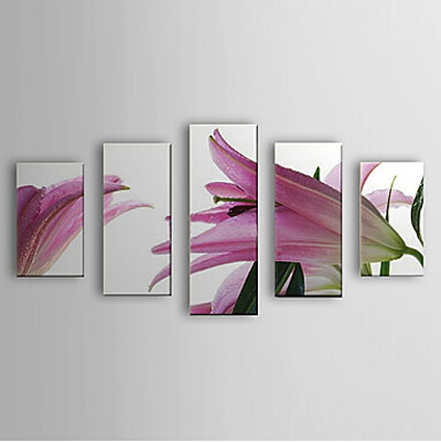 Floral Lily-Modern Canvas Art Wall Decor-Floral Oil Painting Wall Art with Stretched Frame Ready to Hang