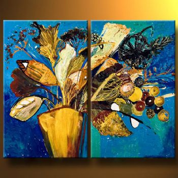 Flowers In A Vase-Modern Canvas Art Wall Decor-Floral Oil Painting Wall Art with Stretched Frame Ready to Hang
