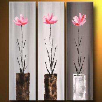 Flowers In Vases Modern Canvas Art Wall Decor Floral Oil Painting