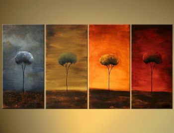 Four Seasons II-Modern Canvas Art Wall Decor-Landscape Oil Painting Wall Art with Stretched Frame Ready to Hang