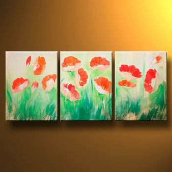 Fragility Of Poppies-Modern Canvas Art Wall Decor-Floral Oil Painting Wall Art with Stretched Frame Ready to Hang