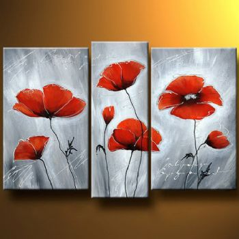 Frosty Poppies-Modern Canvas Art Wall Decor-Floral Oil Painting Wall Art Stretched Framed Ready to Hang