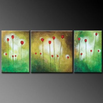 Garden With Tulip Corner-Modern Canvas Art Wall Decor-Floral Oil Painting Wall Art with Stretched Frame Ready to Hang