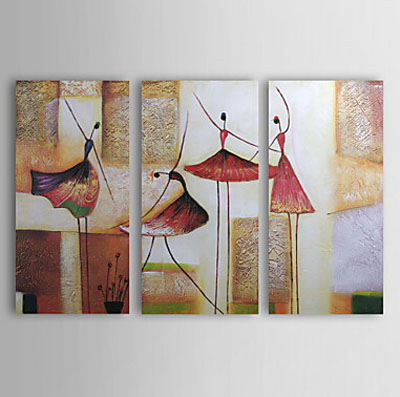 Girls Dancing-Modern Canvas Art Wall Decor-Abstract Oil Painting Wall Art with Stretched Frame Ready to Hang