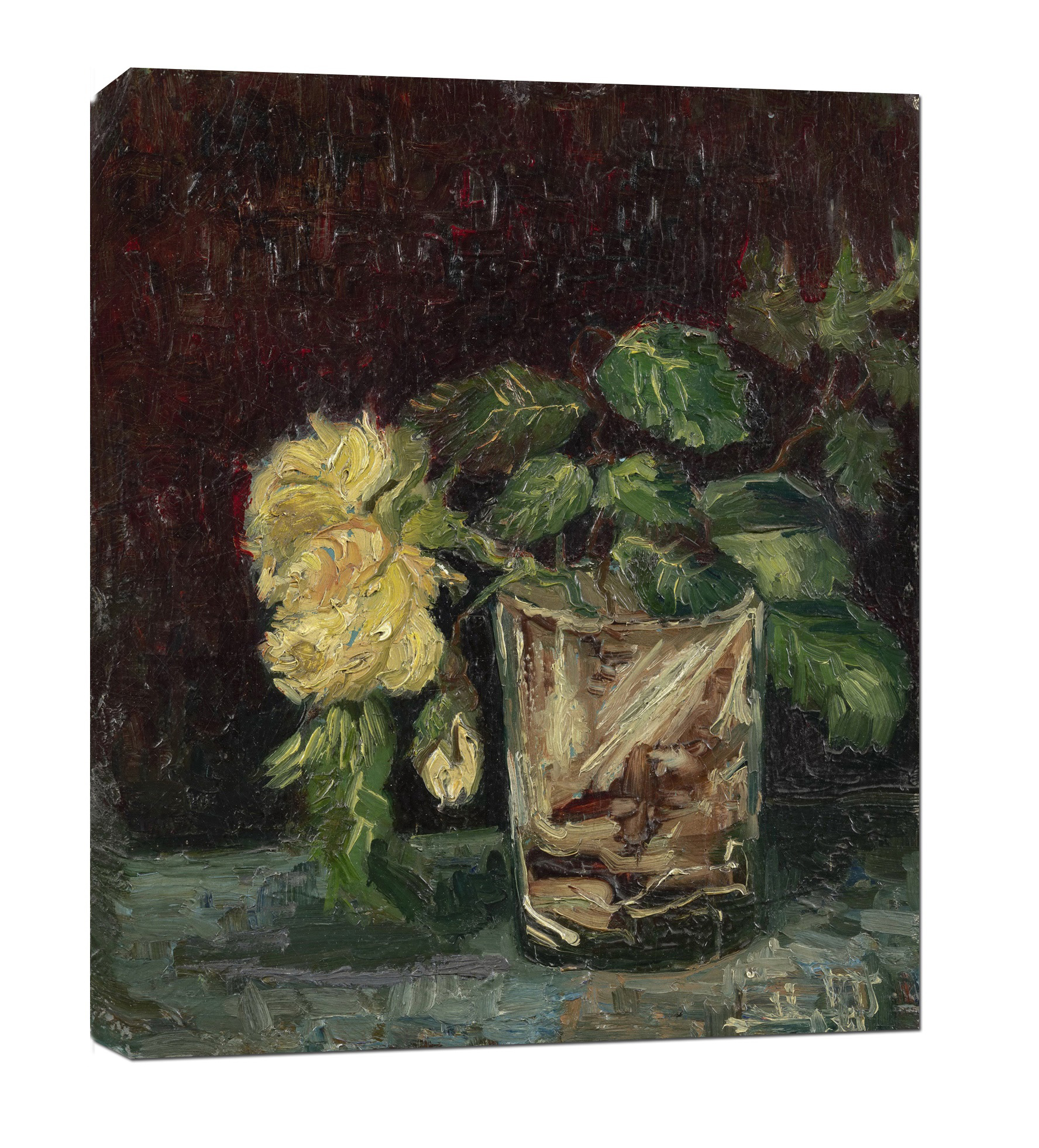 Vincent Van Gogh Glass with Roses Wall Art Print on Canvas Art Wall Decor Stretched Framed Ready to Hang