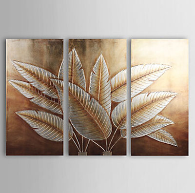 Gold and Silver Foil-Floral Oil Painting Wall Art-Modern Canvas Art Wall Decor with Stretched Frame Ready to Hang