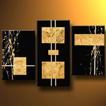 Gold Bars-Modern Canvas Art Wall Decor-Abstract Oil Painting Wall Art with Stretched Frame Ready to Hang
