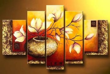 Golden Bottle Elegent Modern Floral Oil Painting Wall Art with Stretched Frame Ready to Hang