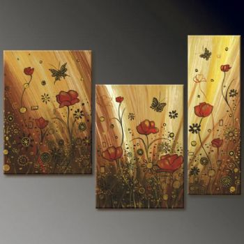 Golden Meadow Fantasy Modern Canvas Art Wall Decor Fl Oil Painting