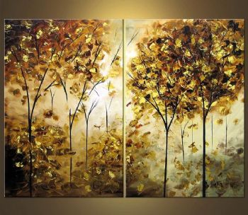 Golden-Modern Canvas Art Wall Decor-Landscape Oil Painting Wall Art with Stretched Frame Ready to Hang