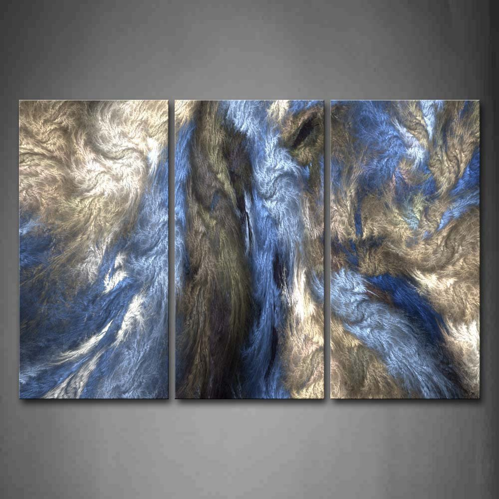 Gray Blue Modern Canvas Art Abstract Oil Painting Wall Art With Stretched Frame Ready to Hang