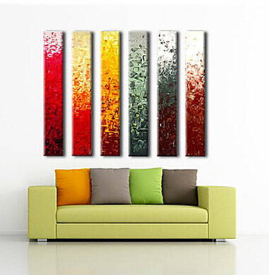 Hand Painted Oil Painting Abstract Canvas Art With Stretched Frame Ready to hang Set of 6 Panels