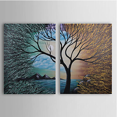 2pcs Hand Painted Abstract Oil Painting Wall Art-Modern Canvas Art Wall Decor