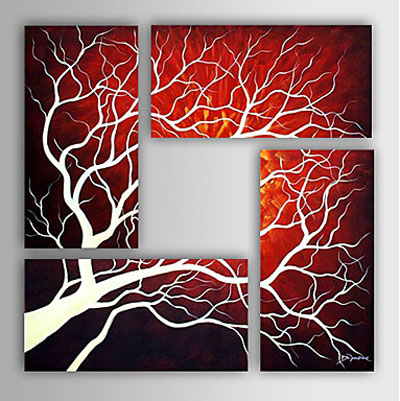 Home Decoration-Modern Abstract Oil Painting on Canvas-4pcs Canvas Wall Art with Stretched Frame Ready to Hang