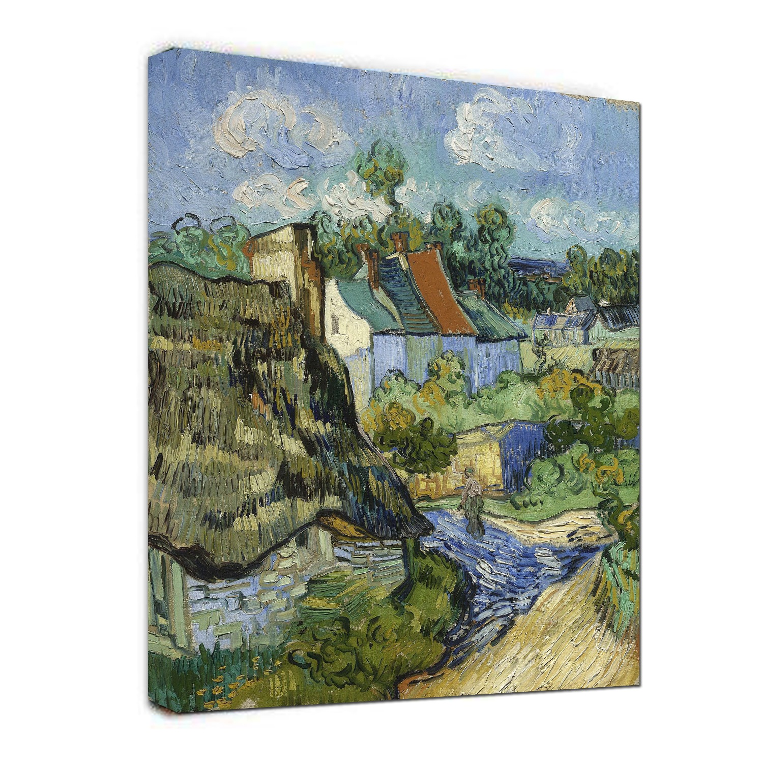 Hand Painted Houses in Auvers by Vincent Van Gogh oil painting-Landscape Canvas Wall Art