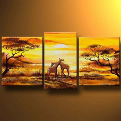 Hugging Giraffes-Modern Canvas Art Wall Decor-Landscape Oil Painting Wall Art with Stretched Frame Ready to Hang
