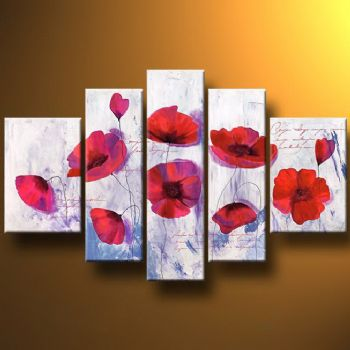 Ice Poppies-Modern Canvas Art Wall Decor-Floral Oil Painting Wall Art with Stretched Frame Ready to Hang