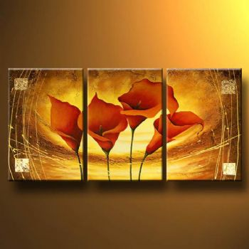 In The Web Of Gold-Modern Canvas Art Wall Decor-Floral Oil Painting Wall Art with Stretched Frame Ready to Hang