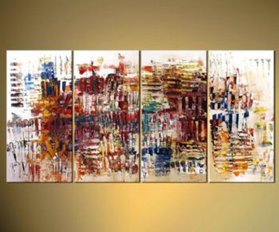Interaction-Modern Canvas Art Wall Decor-Abstract Oil Painting Wall Art with Stretched Frame Ready to Hang