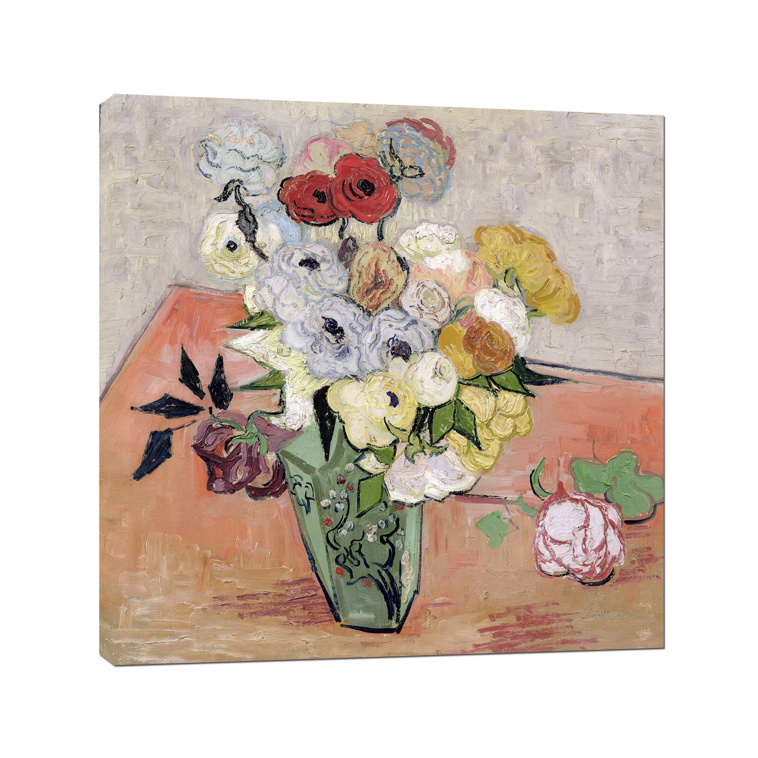 Vincent Van Gogh Japanese Vase with Roses and Anemones Wall Art Print on Canvas Art Wall Decor Stretched Framed Ready to Hang