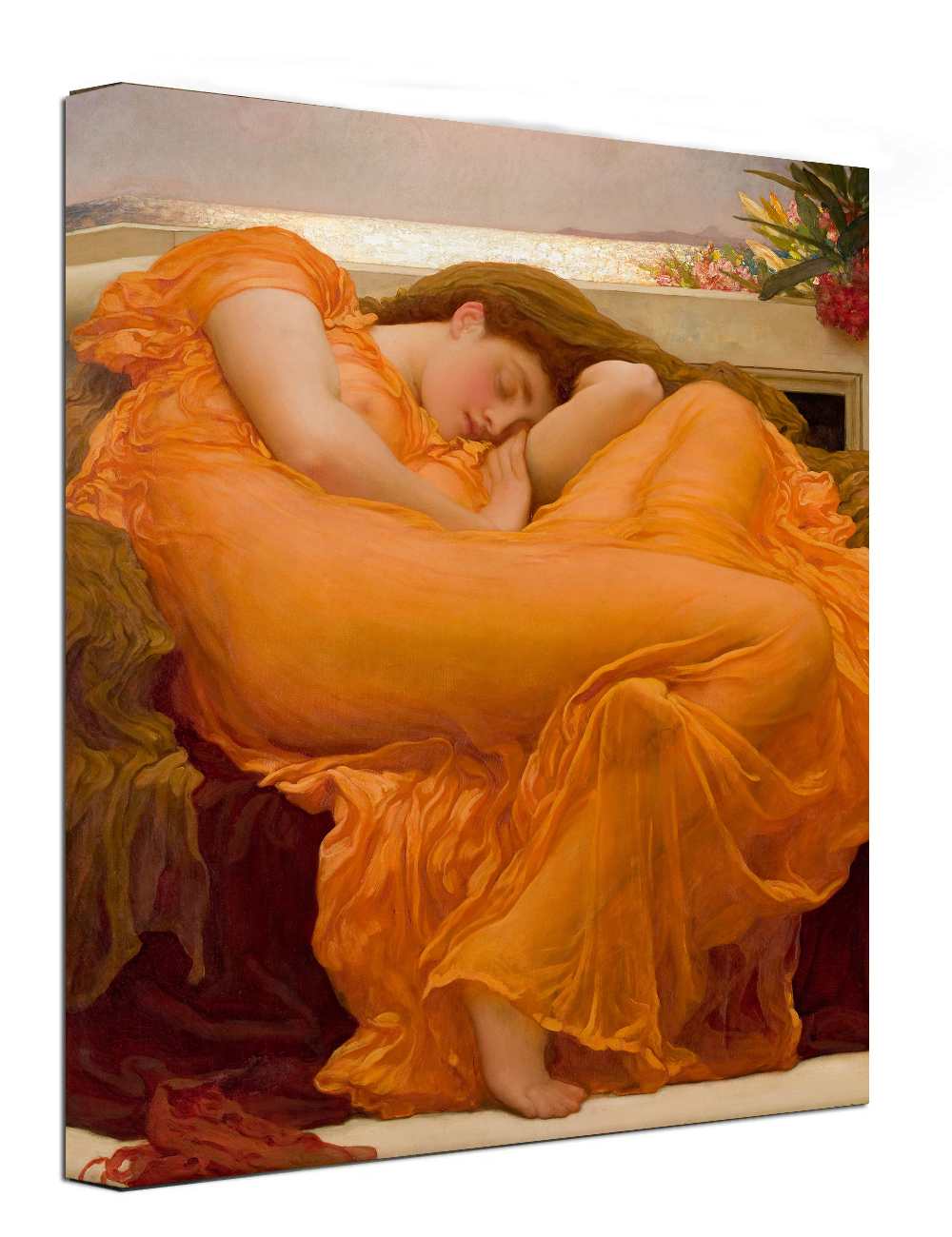 Flaming June, Frederic Leighton Classic Art Reproduction. Giclee Canvas Prints Wall Art Framed Ready to Hang