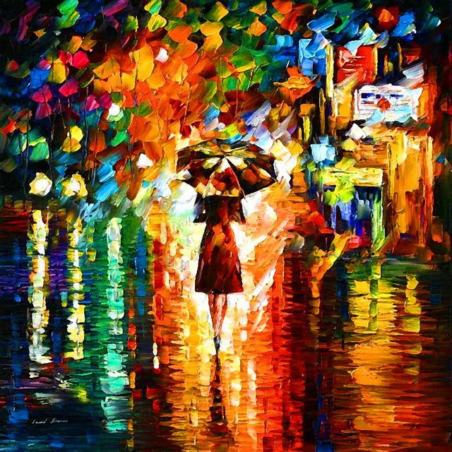 A Woman Walk in the Rain Home Decorative Pictures Print On Canvas with Stretched Frame Ready to Hang LD-BJQ0054