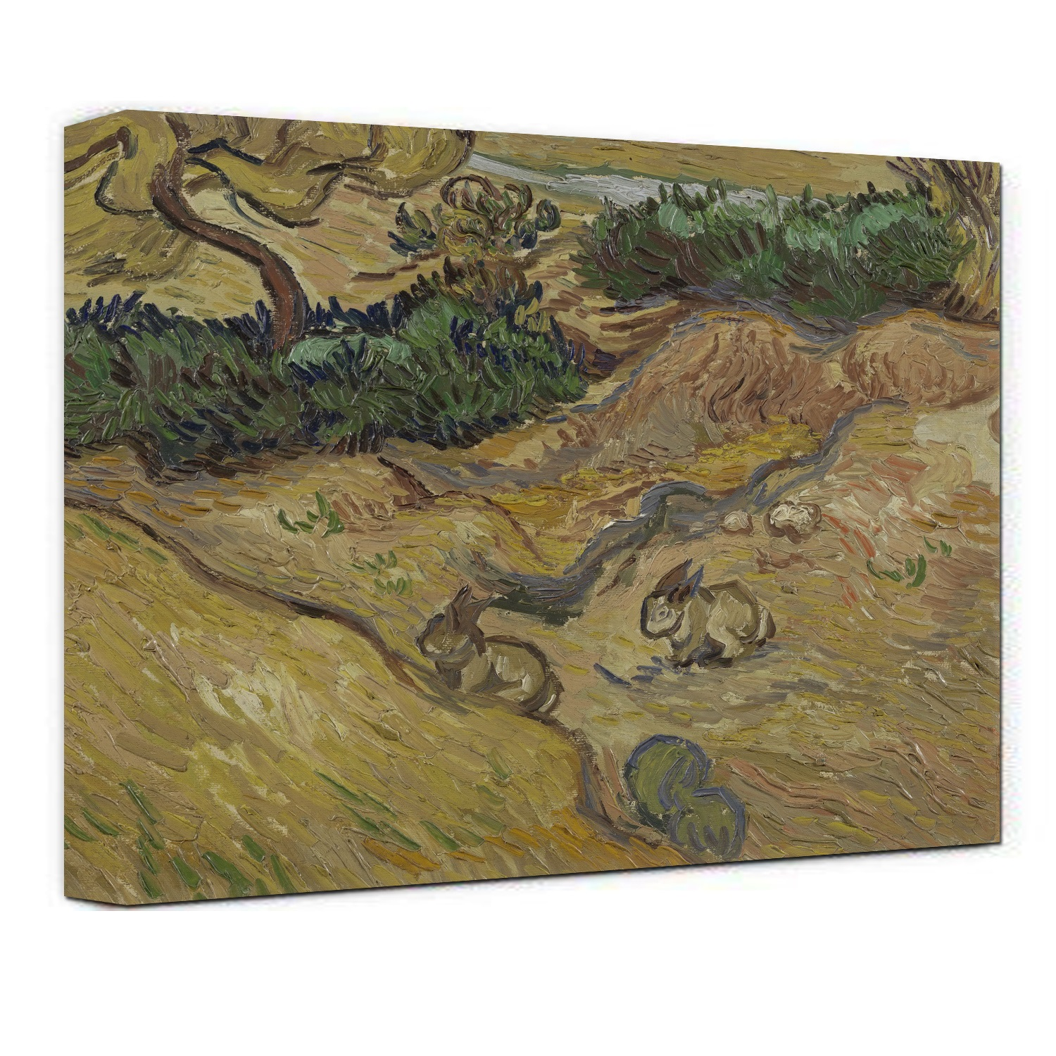 Hand Painted Landscape with Rabbits by Vincent Van Gogh oil painting-Floral Canvas Wall Art