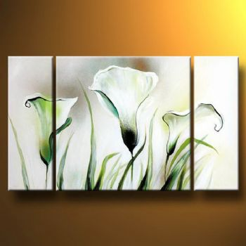 Lazy-Modern Canvas Art Wall Decor-Floral Oil Painting Wall Art with Stretched Frame Ready to hang