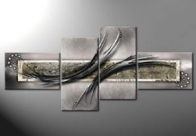 Light Grayish-Modern Canvas Art Wall Decor-Abstract Oil Painting Wall Art with Stretched Frame Ready to hang