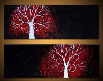 Light Tree-Modern Abstract Oil Painting Canvas Wall Art with Stretched Frame Ready to Hang